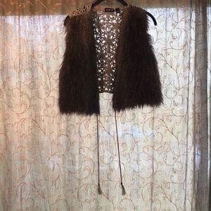 Faux fur crochet vest